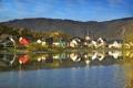 Картинка горы, река, фото, дома, Город, Германия, Бридерн