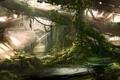 Картинка деревья, город, стволы, человек, арт, руины, заброшенность