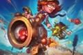 Картинка девушка, механизм, курица, существо, ракеты, арт, стрелы