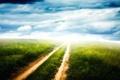 Картинка дорога, поле, облака, горизонт, колея, просёлочная, Green pathway