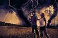 Картинка поле, семья, арт, торнадо, постапокалипсис, смерич