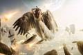 Картинка небо, девушка, облака, планета, крылья, меч, перья