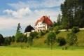 Картинка деревья, город, дом, фото, поляна, Германия, склон