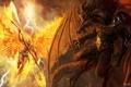 Картинка оружие, пламя, молнии, крылья, искры, битва, Демоны