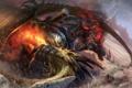 Картинка скалы, огонь, дракон, воин, арт, гигант, битва