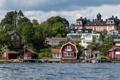 Картинка Швеция, река, берег, деревья, дома, Vaxholm
