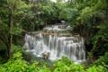 Картинка каскад, лес, Erawan waterfall, River Kwai, зелень, пороги, кусты
