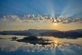 Картинка небо, вода, облака, отражение