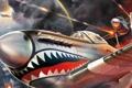 Картинка огонь, выстрелы, бой, дым, самолеты, пилот, город