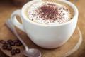 Картинка шоколад, ложка, капучино, кофейные зерна
