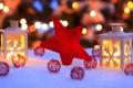 Картинка зима, снег, огни, звезда, Новый Год, Рождество, фонарь