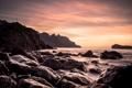 Картинка море, закат, камни, скалы, крест