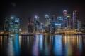 Картинка город, здания, Сингапур, ночь, подсветка, небоскребы, огни
