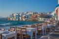 Картинка море, город, стулья, дома, ресторан, набережная, столики