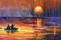 Картинка закат, люди, деревья, Leonid Afremov, лодка, озеро