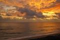 Картинка Закат, Небо, Вода, Облака, Море, Пляж, Вечер