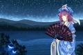 Картинка девушка, звезды, бабочки, ночь, природа, река, холмы