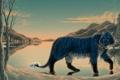 Картинка зима, снег, деревья, горы, тигр, озеро, голубой