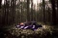Картинка лес, девушка, одиночество, настроение