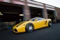 Картинка жёлтый, здание, скорость, размытие, gallardo, lamborghini, yellow
