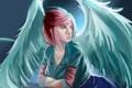 Картинка взгляд, девушка, крылья, сидит