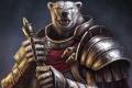 Картинка оружие, медведь, воин, арт, броня, шрам, Guild Wars