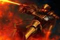 Картинка фантастика, арт, шлем, броня, огнь, Steampunk Pyromancer