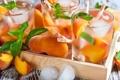 Картинка лед, макро, мята, лимонад, инжирный персик