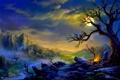 Картинка пейзаж, горы, огни, дом, дерево, долина, костер