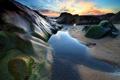 Картинка море, небо, облака, закат, камни, скалы, отлив