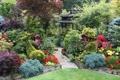 Картинка деревья, цветы, дизайн, газон, сад, дорожка, беседка