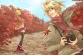 Картинка осень, листья, девушка, ветер, шарф, арт, фотоаппарат