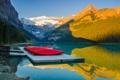 Картинка небо, деревья, горы, озеро, лодки, Канада