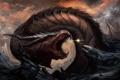 Картинка обломки, камни, скалы, магия, дракон, человек, арт