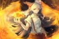 Картинка девушка, огонь, магия, крылья, аниме, арт, бант