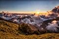 Картинка горы, свет, утро