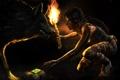 Картинка взгляд, девушка, огонь, животное, игра, волк, хищник