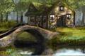 Картинка лес, деревья, цветы, мост, дом, река, арт