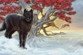 Картинка холод, зима, взгляд, листья, снег, ветки, дерево