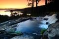 Картинка лес, река, небо, поток, вечер, камни