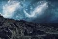 Картинка небо, звезды, горы, фантастика, галактики, гряда