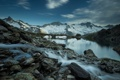 Картинка снег, пейзаж, горы, природа, река
