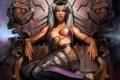 Картинка девушка, поза, кровь, трон, Sindel, Mortal Kombar
