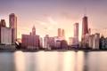 Картинка Закат, Вода, Чикаго, Мичиган, Небоскребы, Здания, Америка