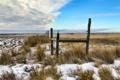 Картинка поле, небо, снег, забор