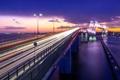 Картинка свет, мост, город, огни, вечер, выдержка, Япония
