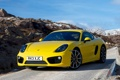 Картинка машина, обои, Porsche, yellow, передок, Cayman S