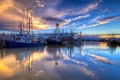 Картинка пейзаж, закат, корабли, порт
