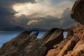 Картинка камни, скалы, Крым, облака, тень, море, Черное