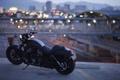 Картинка мост, город, мотоцикл, Harley-Davidson